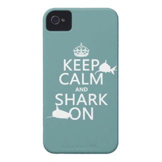 Keep Calm and Shark On (customizable colors) iPhone 4 Case-Mate Case