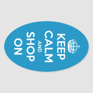 Keep Calm and Shop On Blue Oval Stickers
