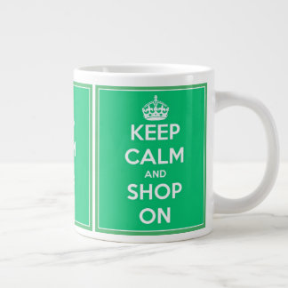 Keep Calm and Shop On Green and White Large Coffee Mug