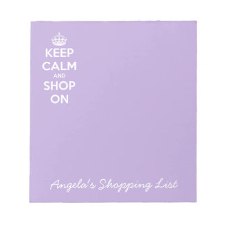 Keep Calm and Shop On Lavender Notepad