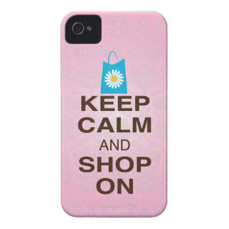 KEEP CALM and SHOP ON Pink Blue iPhone4/4s Case iPhone 4 Case-Mate Case