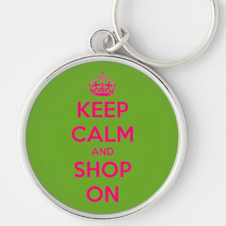 Keep Calm and Shop On Pink on Green Silver-Colored Round Keychain
