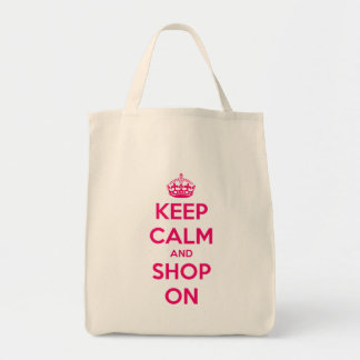 Keep Calm and Shop On Pink on Natural