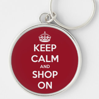 Keep Calm and Shop On Red and White Keychain
