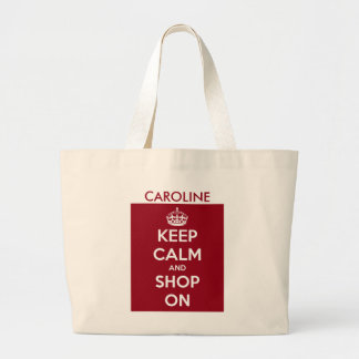 Keep Calm and Shop On Red and White Personalized Large Tote Bag