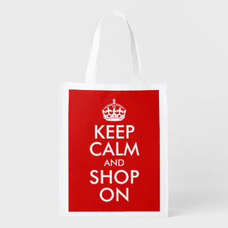 Keep Calm and Shop On Reusable Grocery Bag