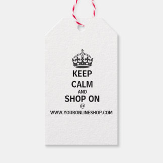 Keep Calm And Shop On W/QR Code Personalized Gift Tags