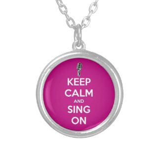 Keep Calm and Sing on! Silver Plated Necklace