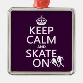 Keep Calm and Skate On (rollerskaters) Metal Ornament