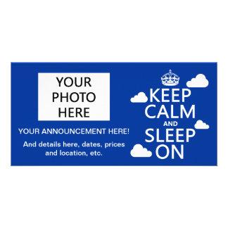 Keep Calm and Sleep On (customize color) Custom Photo Card