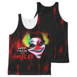 keep calm and smile - creepy horror clown All-Over-Print tank top