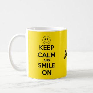 Keep Calm and Smile On Yellow Coffee Mug