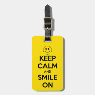 Keep Calm and Smile On Yellow Luggage Tag