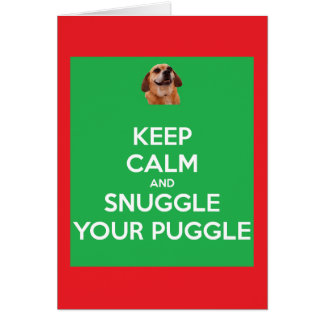 Keep Calm and Snuggle Your Puggle Gr/Red Christmas Card