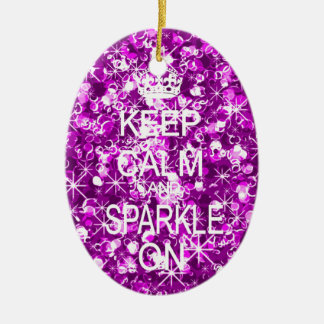 Keep calm and sparkle christmas ornament