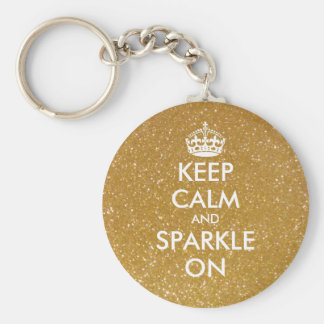 Keep calm and sparkle on gold glitter keychains