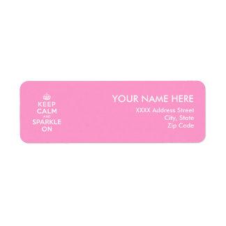 Keep Calm and Sparkle On Return Address Label