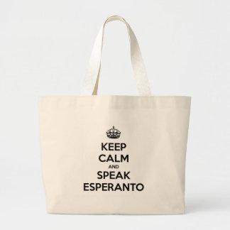 KEEP CALM AND SPEAK ESPERANTO LARGE TOTE BAG