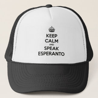 KEEP CALM AND SPEAK ESPERANTO TRUCKER HAT