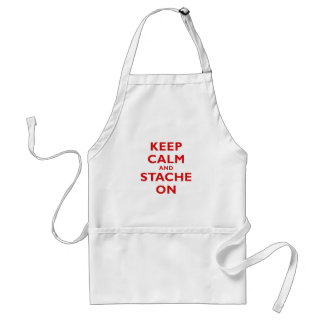 Keep Calm and Stache On Adult Apron
