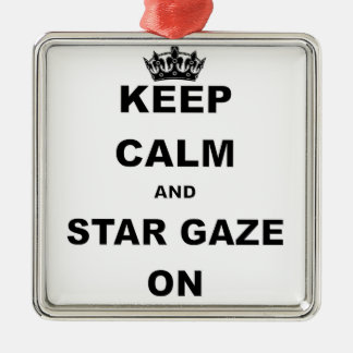 KEEP CALM AND STAR GAZE.png Silver-Colored Square Ornament