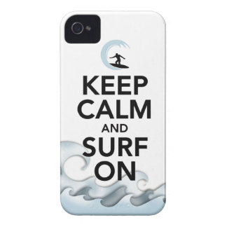 keep calm and surf on surfer board water sport Case-Mate iPhone 4 cases