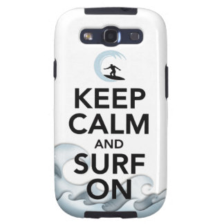 keep calm and surf on surfer board water sport samsung galaxy s3 cases
