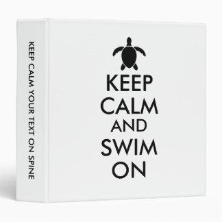 Keep Calm and Swim On Honu Sea Turtle Custom Binder