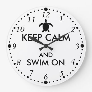 Keep Calm and Swim On Honu Sea Turtle Custom Clock