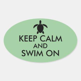 Keep Calm and Swim On Honu Sea Turtle Custom Oval Sticker