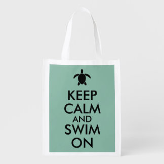 Keep Calm and Swim On Honu Sea Turtle Custom Reusable Grocery Bag
