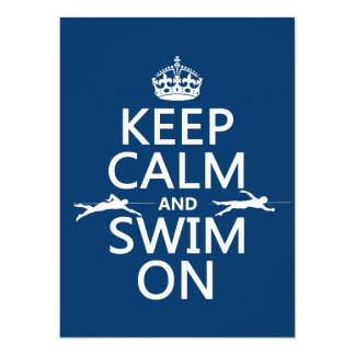 Keep Calm and Swim On (in any color) Card