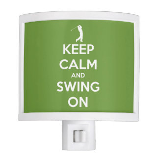 Keep Calm and Swing On Green and White Nite Light
