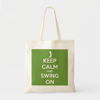 Keep Calm and Swing On Green Reusable Budget Tote