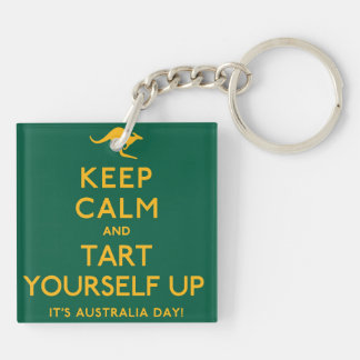Keep Calm and Tart Yourself Up! Double-Sided Square Acrylic Keychain