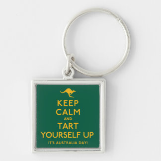 Keep Calm and Tart Yourself Up! Silver-Colored Square Keychain