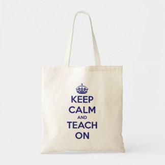 Keep Calm and Teach On Blue Budget Tote Bag