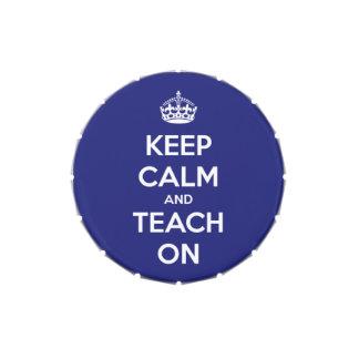 Keep Calm and Teach On Blue Candy Tin