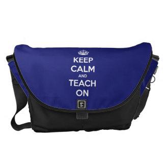 Keep Calm and Teach On Blue Messenger Bag