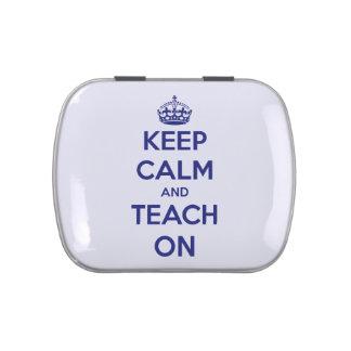 Keep Calm and Teach On Blue Refillable Candy Tin