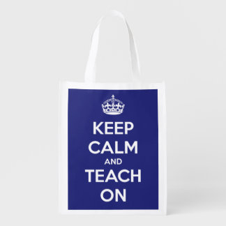 Keep Calm and Teach On Personalized Blue Bag