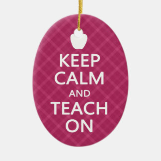 Keep Calm and Teach On, Pink Plaid Christmas Tree Ornaments