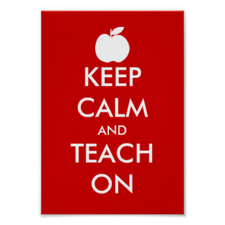 Keep calm and teach on poster with apple icon