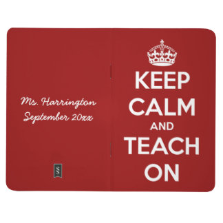 Keep Calm and Teach On Red Pocket Journal