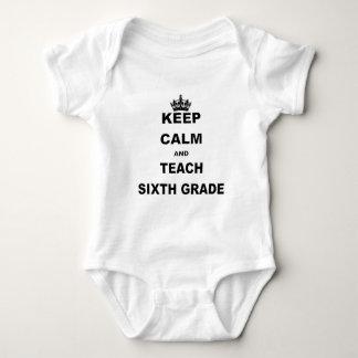 KEEP CALM AND TEACH SIXTH GRADE BABY BODYSUIT