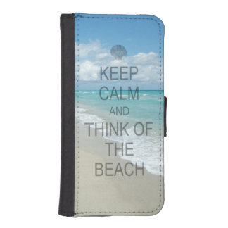 Keep Calm and Think of the Beach iPhone 5 Wallet Case