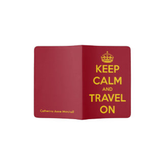 Keep Calm and Travel On Red and Yellow Passport Holder