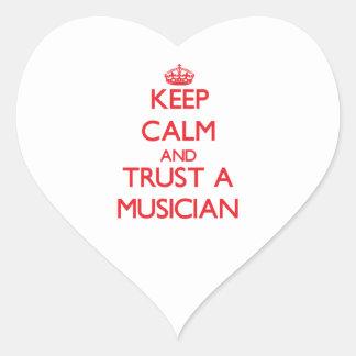Keep Calm and Trust a Musician Heart Sticker