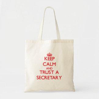 Keep Calm and Trust a Secretary Bags