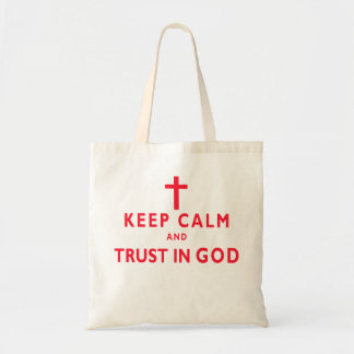 Keep Calm and Trust in God Christian Tote Bags